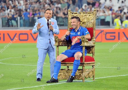 Italian soccer legend Alessandro Del Piero with Italian television presenter Piero Chiambretti prior to the 'Match of the Heart' National Italian singers team vs 'Champions for the Research' team at the Juventus Stadium in Turin, Italy, 30 May 2017.