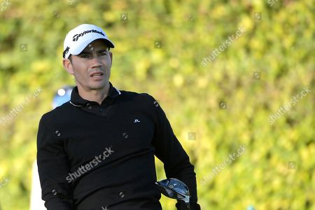 Camilo Villegas, of Colombia, watches his tee shot on the ninth hole during the first round of the Arnold Palmer Invitational golf tournament in Orlando, Fla