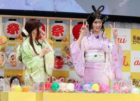 Kasumi Arimura and Nanao in yukata, summer kinono play yo-yo fishing game to pick small balloons