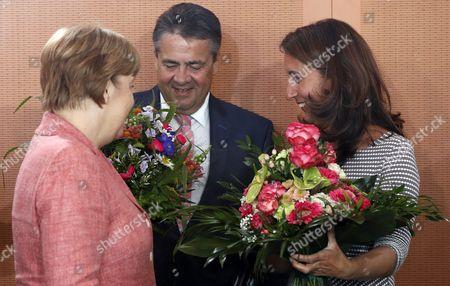 Angela Merkel, Aydan Ozoguz and Sigmar Gabriel