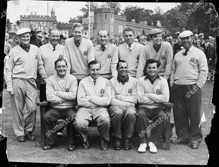 Back Row (l-r) John Panton, Jimmy Adams, Bernard Hunt, Eric Brown, Harry Weetman, Peter Alliss and Harry Bradshaw.  Front Row (l-r) Fred Daly, Henry Cotton, Max Faulkner and Dai Rees.
