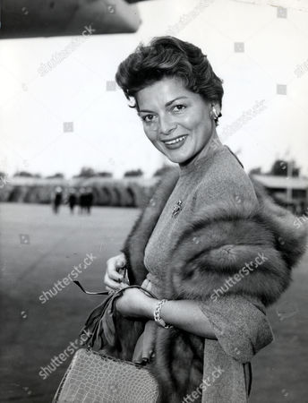 Lys Assia Swiss Singer Who Won The First Eurovision Song Contest In 1956 Arriving At London Heathrow Airport.
