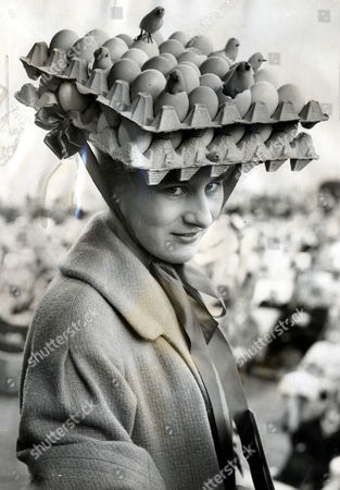 Miss Christine Hodgson Is Pictured In A Novelty Bonnet During An Easter Bonnet Parade In Morecambe- She Won The First Prize For The 'egghead' Look.