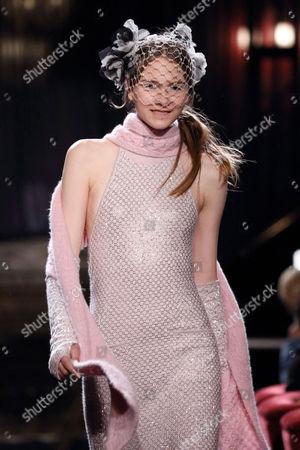 Stock Image of Yumi Lambert on the catwalk