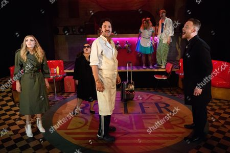 Editorial image of 'Roller Diner, Home of the Full English Breakfast' Play, The Soho Theatre, London, UK - 30 May 2017