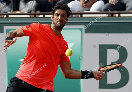 Thomaz Bellucci of Brazil plays against Lucas Pouille of France during their men?s single 2nd round match during the French Open tennis tournament at Roland Garros in Paris, France, 31 May 2017.