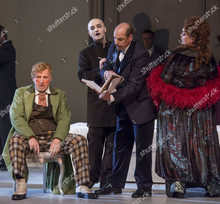 Brindley Sherratt as Baron Ochs, Peter Van Hulle as The Trouble Maker, Alistair Moore as The Lawyer and Madeleine Shaw as Annina