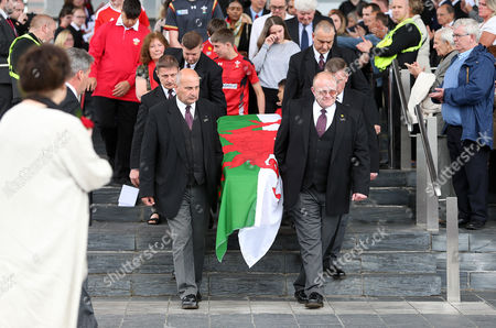 Former First Minister of Wales Rhodri Morgan's coffin leaving The Senedd