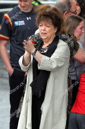 Stock Image of Lorraine Barrett thanks those attending after the service