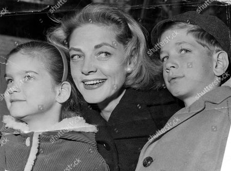 Lauren Bacall Actress Pictured At London Airport With Her Children Leslie Bogart And Stephen Bogart (right)