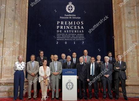 Jury members of Princess of Asturias Award for Social Sciences announce British writer Karen Armstrong as the winner of 2017 Princess of Asturias Award for Social Sciences, during a ceremony in Oviedo, Asturias, northern Spain, 31 May 2017.