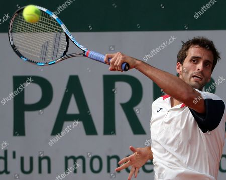 Albert Ramos-Vinolas of Spain in action against Benjamin Bonzi of France during their men?s single 2nd round match during the French Open tennis tournament at Roland Garros in Paris, France, 31 May 2017.