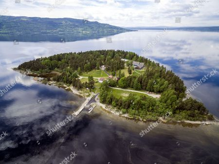 Aerial view of the island Utoya where mass murderer Anders Behring Breivik killed 69 people many of them children on 22 July 2011. The Labour Party´s Youth Organization AUF holds their summer camp here. New buildings have been built over the last years.