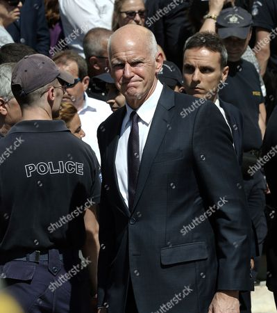 Stock Picture of Former Greek Prime Minister George Papandreou (C) attends the funeral service of former Greek Prime Minister Constantine Mitsotakis , at the Metropolitan Cathedral of Athens, Greece 31 May 2017.   Former Greek prime minister Constantine Mitsotakis, passed away 29 May 2017 at the age of 98. Mitsotakis?s political career spanned more than 50 years,  and he served as prime minister from 1990-93.  Â