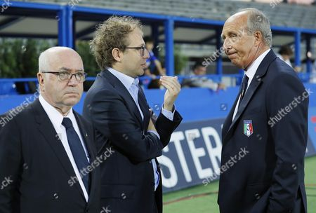 From left, president of the Italian Football Federation (FIGC) Carlo Tavecchio,  Italy's Minister of Sport Luca Lotti and Italy' national soccer team coach Gian Piero Ventura prior to the friendly match between Italy and San Marino at Carlo Castellani stadium in Empoli, Italy, 31 May 2017.