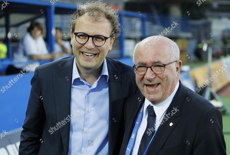 Italy's Minister of Sport Luca Lotti (L) and the president of the Italian Football Federation (FIGC) Carlo Tavecchio smiles prior to the friendly match between Italy and San Marino at Carlo Castellani stadium in Empoli, Italy, 31 May 2017.