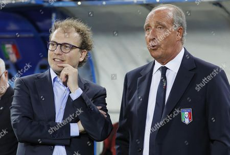 Italy's Minister of Sport Luca Lotti (L) and Italy's national soccer team coach Gian Piero Ventura talk prior to the friendly match between Italy and San Marino at Carlo Castellani stadium in Empoli, Italy, 31 May 2017.