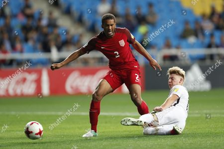 Stock Image of Auston Trusty (L) of the USA vies for the ball with James McGarry (R) of New Zealand during the round of 16 match of the FIFA U-20 World Cup 2017 between USA and New Zealand in Incheon, South Korea, 01 June 2017.