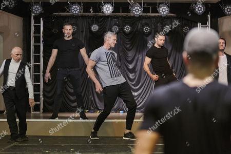 Wayne Sleep Elliot Wright Mark Foster Harry Judd and Matthew Wolfenden rehearsing for the Real Full Monty at the Shiregreen Club in Sheffield. Choreographer Ashley Bango directing