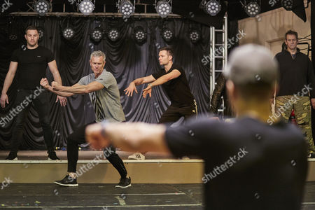 Elliot Wright Mark Foster Harry Judd and Alexander Armstron rehearsing for the Real Full Monty at the Shiregreen Club in Sheffield. With Choreographer Ashley Bango
