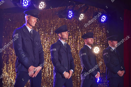 Mark Foster, Harry Judd, Matt Wolfenden and Alexander Armstrong performing the Full Monty at the Shiregreen Club in Sheffield