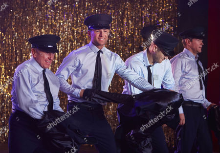 Wayne Sleep, Harry Judd, Matt Wolfenden and Alexander Armstrong performing the Full Monty at the Shiregreen Club in Sheffield