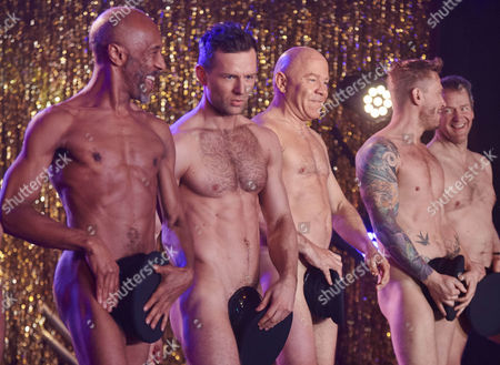 Stock Picture of Danny John Jules, Harry Judd and Dom Littlewood, Matt Wolfenden and Alexander Armstrong performing the Full Monty at the Shiregreen Club in Sheffield