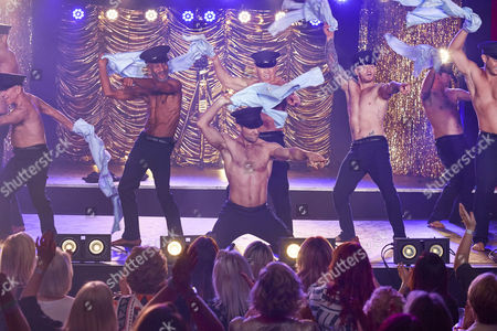 (l-r) Mark Foster Wayne Sleep Harry Judd Danny John Jules Dom Littllewood Matthew Wolfenden Alexander Armstrong and Elliot Wright performing the Full Monty at the Shiregreen Club in Sheffield.