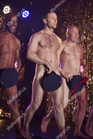Danny John Jules Harry Judd and Dominic Littlewood performing the Full Monty at the Shiregreen Club in Sheffield.