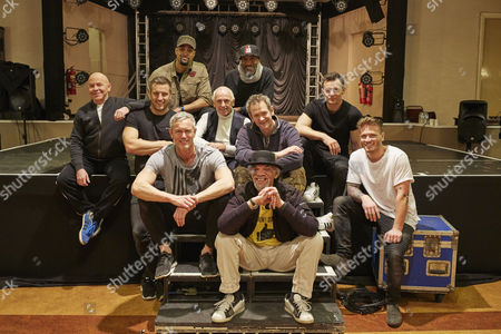 """Real Full Monty Team at the Shiregreen Club in Sheffield. (l-r) Dominic Littlewood Elliot Wright Mark Foster Ashley Banjo Wayne Sleep Danny John Jules,Aleander Armstrong Paul Barber who played Barrington """"Horse"""" Mitchell in the original Full Monty film Harry Judd and Matthew Wolfenden"""