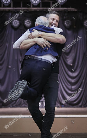 Elliot Wright hugs Wayne Sleep during the rehearsal for the Real Full Monty at the Shiregreen Club in Sheffield.