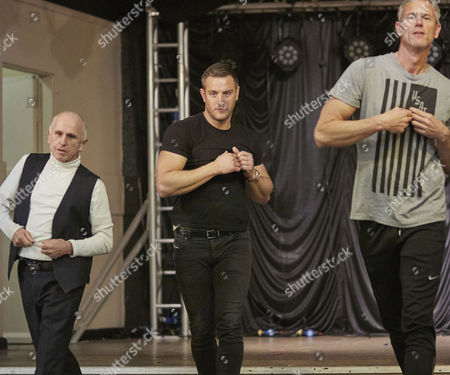Wayne Sleep Elliot Wright and Mark Foster rehearsing for the Real Full Monty at the Shiregreen in Sheffield.