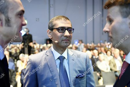 Nokia's Chief Financial Officer (CFO) Kristian Pullola (left), Nokia CEO Rajeev Suri and Chairman Risto Siilasmaa at the general meeting of the Finnish telecommunication network company Nokia