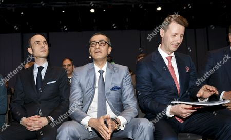 Nokia's Chief Financial Officer (CFO) Kristian Pullola, Nokia CEO Rajeev Suri and Chairman Risto Siilasmaa at the general meeting of the Finnish telecommunication network company Nokia