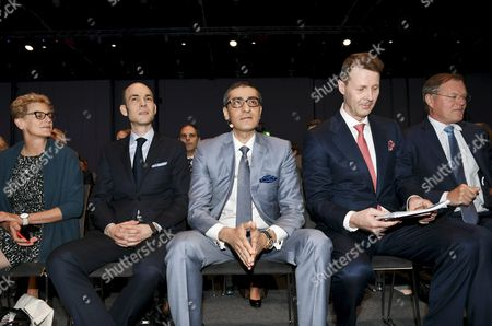 Nokia's Board Member Elizabeth Nelson, Chief Financial Officer (CFO) Kristian Pullola, Chairman Risto Siilasmaa, Nokia CEO Rajeev Suri and Vice Chairman Olivier Piou at the general meeting of the Finnish telecommunication network company Nokia