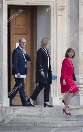 Stock Photo of Plaid Cymru Leader Leanne Wood (R) walks with Home Secretary Amber Rudd and UKIP's Paul Nuttall into the leaders TV debate at Senate House