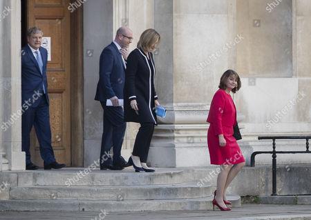 Plaid Cymru's Leanne Wood leads Home Secretary Amber Rudd, UKIP's Paul Nuttall and Angus Robertson of the SNP into the leaders TV debate at Senate House