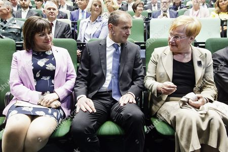 Wife of the President of Iceland Eliza Jean Reid (L), President of Iceland Gudni Thorlacius Johannesson and former President of Finland Tarja Halonen at the re-inauguration of the Hanaholmen cultural centre during the visit of the Nordic heads of state in Helsinki