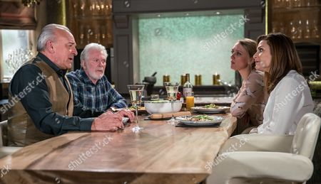 Chrissie White, as played by Louise Marwood, and Rebecca White, as played by Emily Head, confront Lawrence White, as played by John Bowe, about what he's up to. Eventually he comes clean revealing to a shocked Chrissie that Tim Richards is the brother of her biological father, John. (Ep 7855 - Tue 20 Jun 2017)