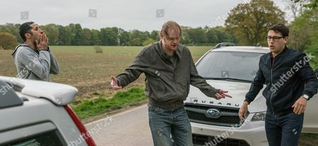 The dealers drag Finn Barton, as played by Joe Gill, off in their vehicle to track down Ross. En route, they pass Emma's car and believing Ross is inside, shunt it from behind, causing an accident. Finn is helpless as he watches them force the driver out. A struggle ensues which results in the driver of the car being stabbed. Realising things are out of hand, the dealers drive away but Finn rushes to the driver's side. (Ep 7855 - Tue 20 Jun 2017)