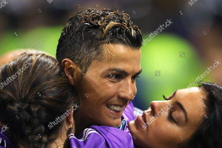 Cristiano Ronaldo of Real Madrid embraces with his mother, Dolores Aveiro and girlfriend, Georgina Rodriguez after winning the UEFA Champions League - Juventus v Real Madrid, UEFA Champions League Final, National Stadium of Wales, Cardiff - 3rd June 2017.