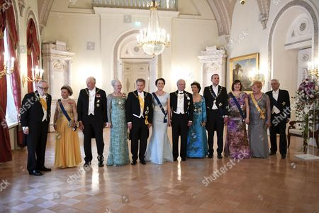 Stock Photo of Former President of Finland, Martti Ahtisaari, Queen Sonja of Norway, King Harald V of Norway, Queen Margrethe II of Denmark, President of Finland Sauli Niinistö, his wife Jenni Haukio, King Carl Gustaf of Sweden, Queen Silvia of Sweden, President of Iceland Gudni Thorlacius Johannesson, his wife Eliza Jean Reid, former President of Finland Tarja Halonen and her husband Pentti Arajarvi