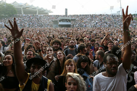 Stock Image of Fans at the British singer Sampha Sisay concert at the Primavera Sound Festival at Forum Park of Barcelona, Catalonia, Spain,  02 June 2017. The festival runs from 31 May to 04 June.