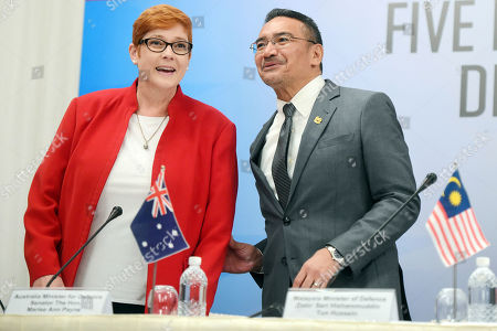 Marise Payne, Hishammuddin Tun Hussein Australian Defense Minister Marise Payne, left, and Malaysian counterpart Defence Hishammuddin Hussein arrive for a joint press conference at the Five Power Defense Arrangements Defense Ministers Meeting in Singapore