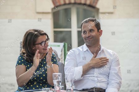 Benoit Hamon and Cecile Duflot, Europe Ecology – The Greens candidate and Benoit Hamon
