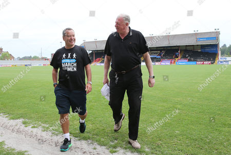 Jeff Stelling talks with Julian Tagg, Exeter City Chairman before Jeff Stelling goes on his walk of 400 miles from Exeter City football Club to Newcastle United Football Club to help stop prostate cancer being a killer. Jeff Stelling's March for Men