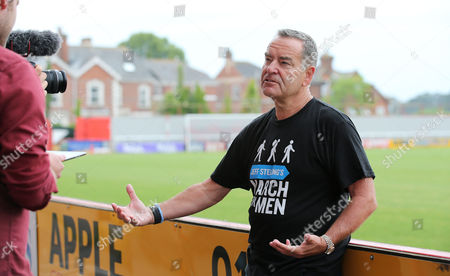 Jeff Stelling being interviewed - Jeff Stelling is walking 400 miles from Exeter City football Club to Newcastle United Football Club to help stop prostate cancer being a killer. Jeff Stelling's March for Men