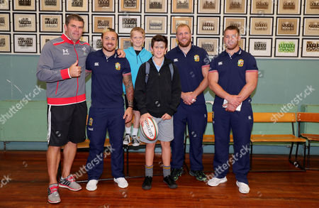 British & Irish Lions Community Visit To Whangarei Boys High School, New Zealand 2/6/2017. James Haskell, Jack Nowell and Sean O?Brien with the pupils and a member of the Whangarei Boys High School