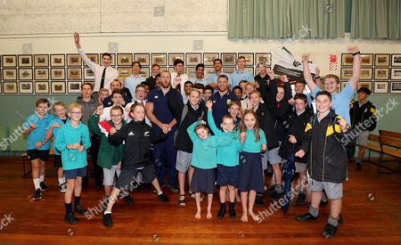British & Irish Lions Community Visit To Whangarei Boys High School, New Zealand 2/6/2017. James Haskell, Jack Nowell and Sean O?Brien with the pupils at Whangarei Boys High School