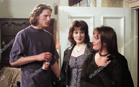 Luke's party gets in full swing and he is surprised when Dolores turns up with Tina Dingle - With Luke McAllister, as played by Noah Huntley ; Dolores Sharp, as played by Samantha Hurst, and Tina Dingle, as played by Jacqueline Pirie. (Ep 1955 - 14th March 1995).